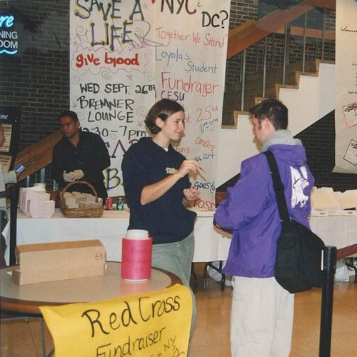 Fundraiser booth with students