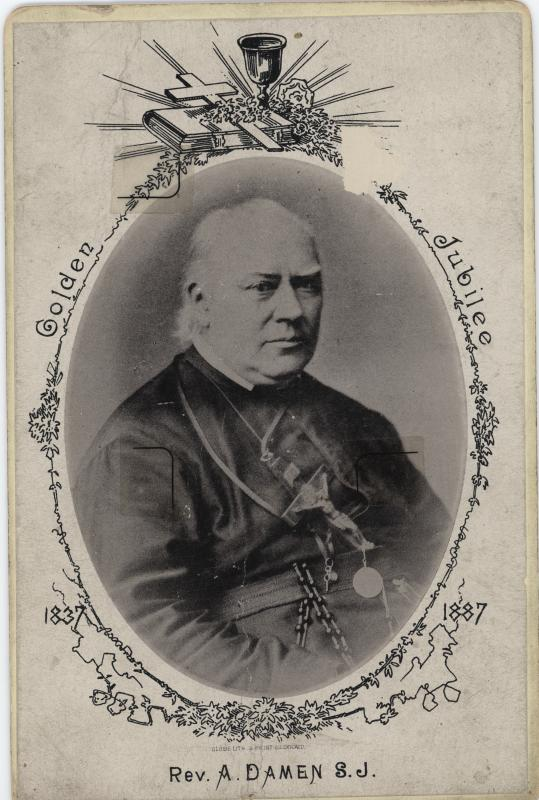 """A formal photograph of Father Arnold Damen. The decoration around the photograph reads """"Golden Jubilee 1837-1887."""""""