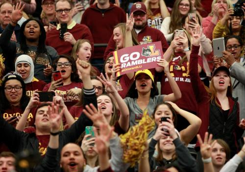 Crowd of students at a Loyola basketball game.