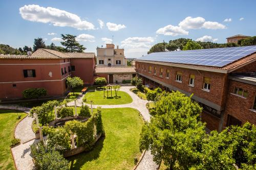 The courtyard and exterior of the John Felice Rome Center.
