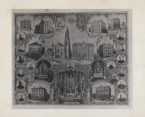 A composite photograph showcasing the main establishments and people of the Holy Family Parish. Each photograph of a building or person is labeled.