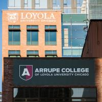 The north side of Arrupe College of Loyola University Chicago